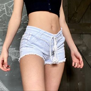 baby blue draw string shorts
